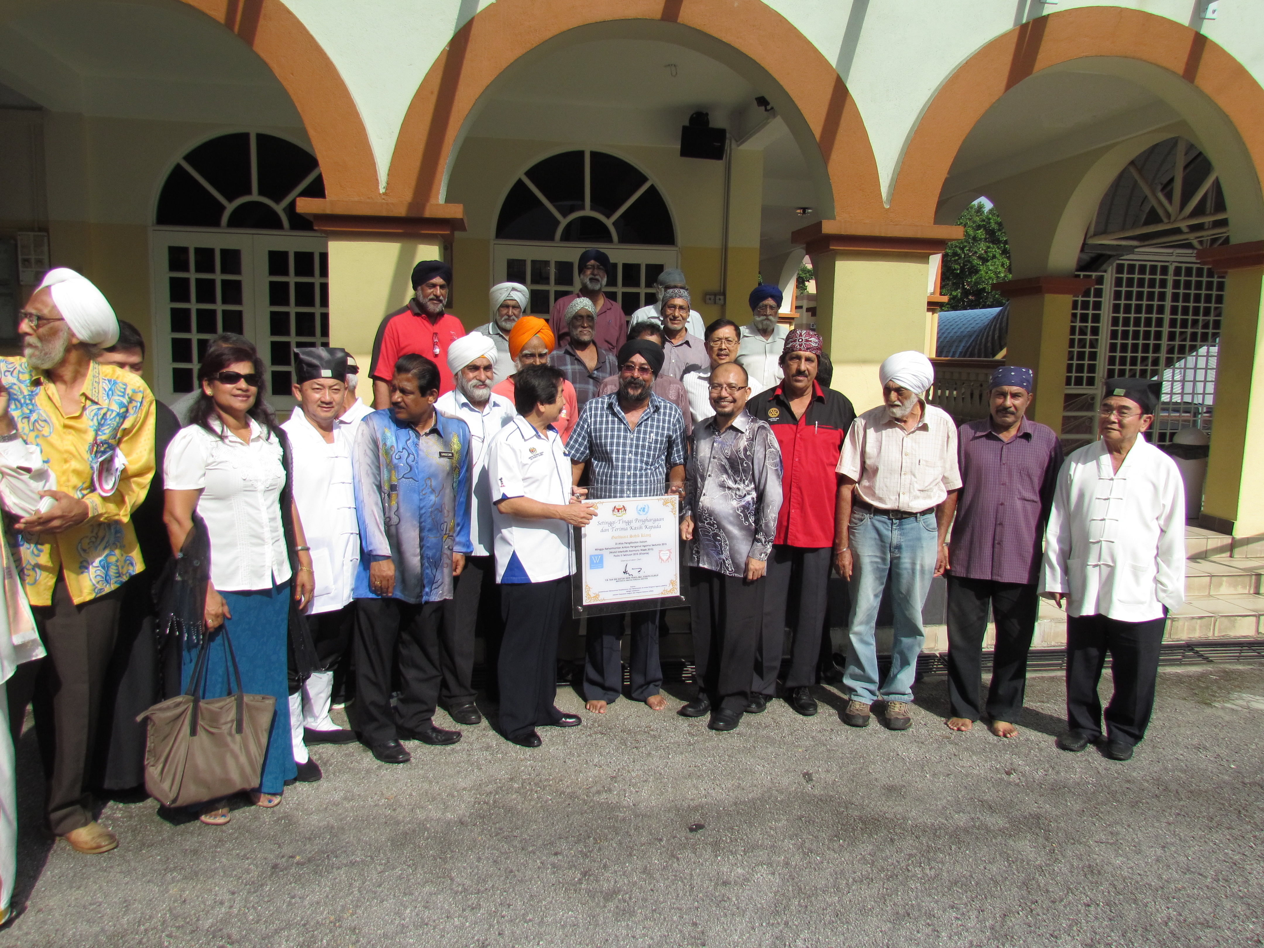 JKMPKA members and Minister Tan Sri Joseph Kurup at Sikh Gurdwara WIHW 2015 program in Klang.JPG