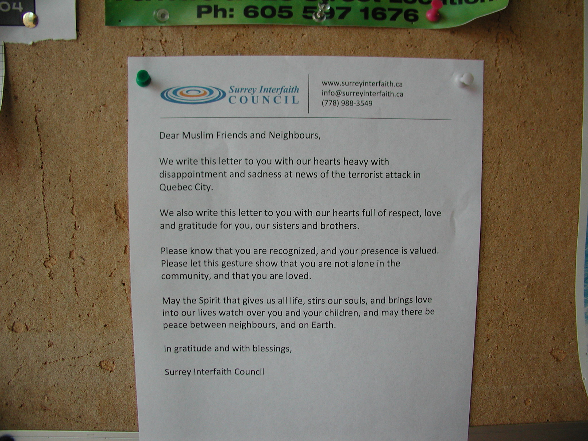 Letter of Solidarity from Surrey Interfaith Council.JPG