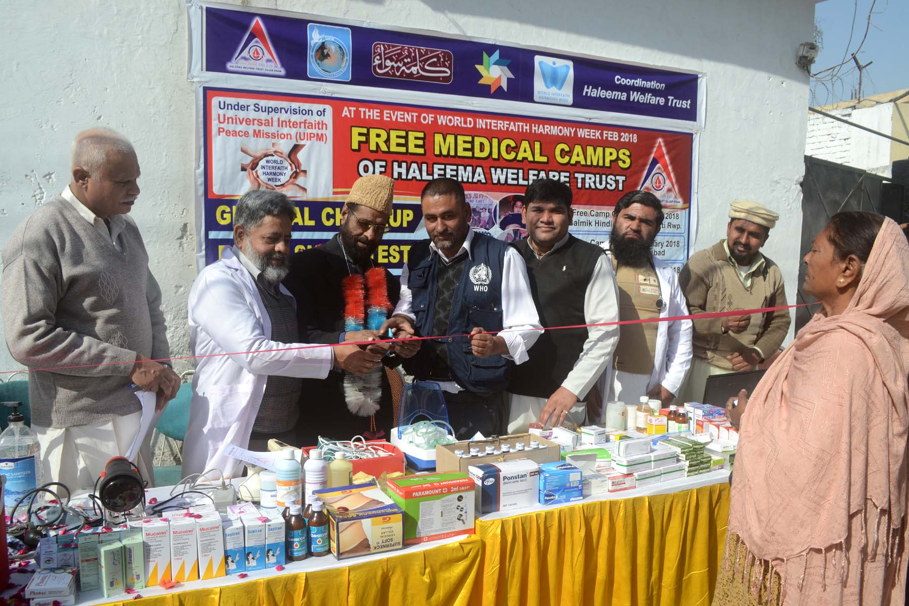 Allama Dr G R Chishti Opening the Free Medical Camp at Hindu Mandar in Lal Kurti Rawalpindi.jpg