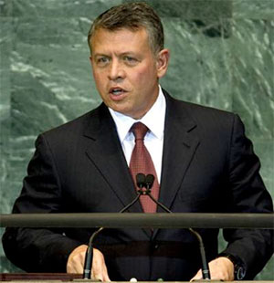 King Abdullah II speaking at the UN