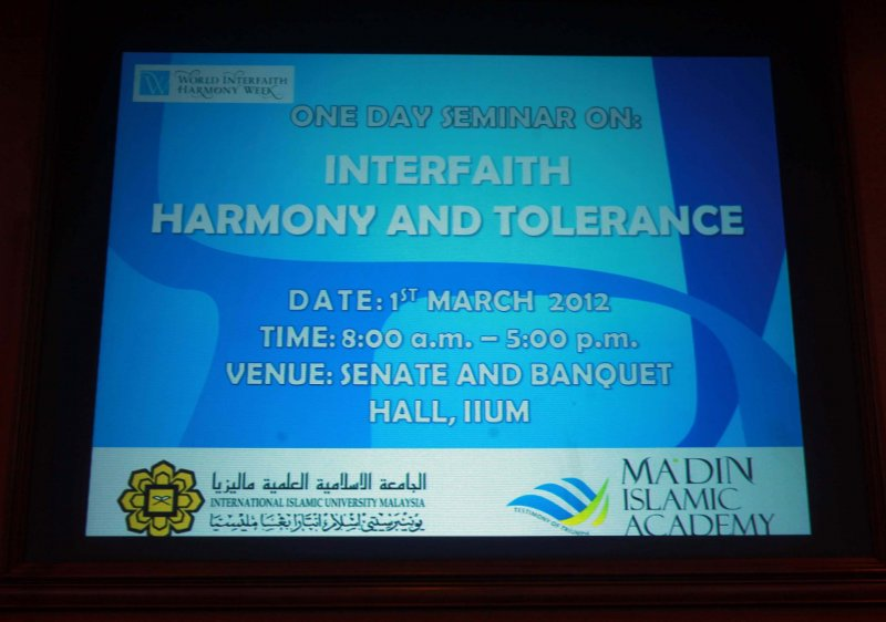Interfaith Harmony Seminar - The MIA and the IIUM - Pic 1